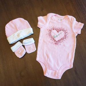 Nike pink onsie, hat, and socks set 6-12 months